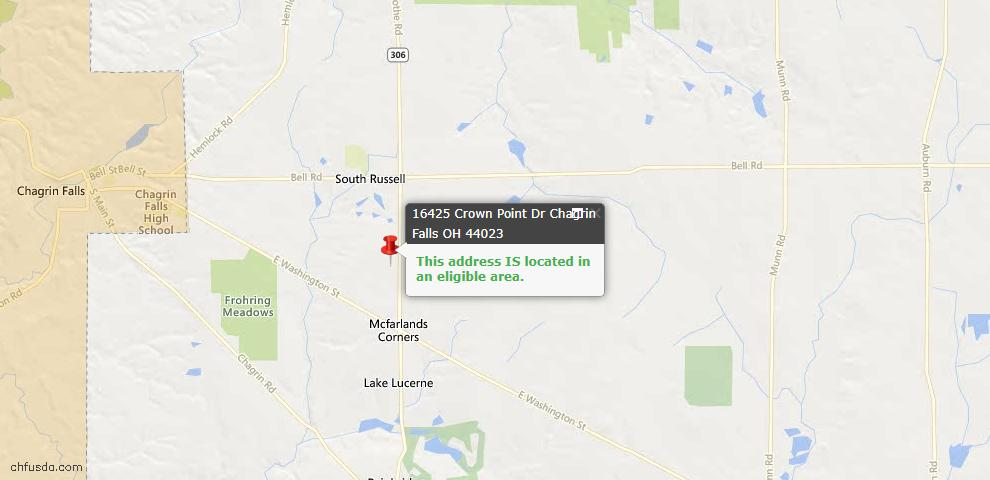 USDA Loan Eligiblity Map - 16425 Crown Pointe, Chagrin Falls, OH 44023
