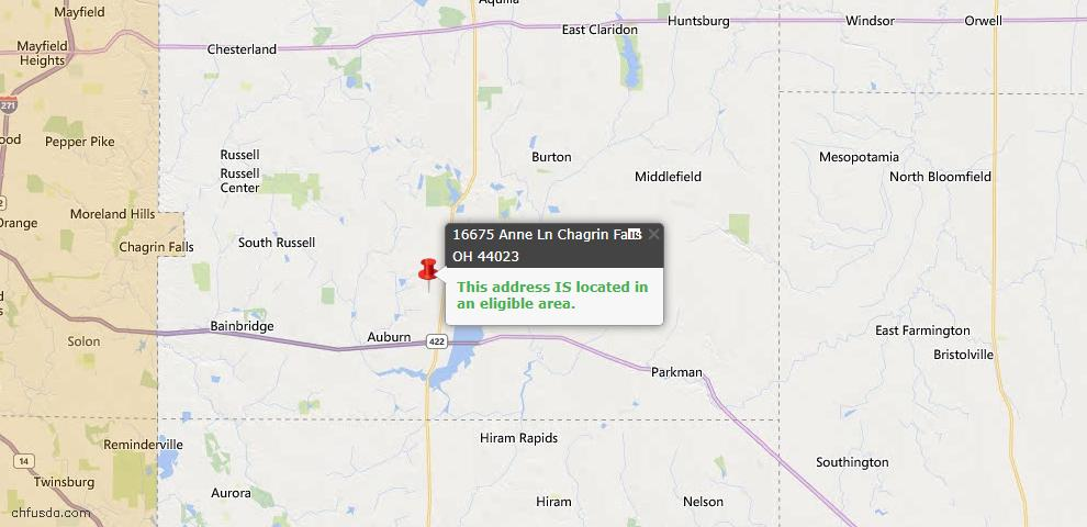 USDA Loan Eligiblity Map - 16675 Anne Ln, Chagrin Falls, OH 44023