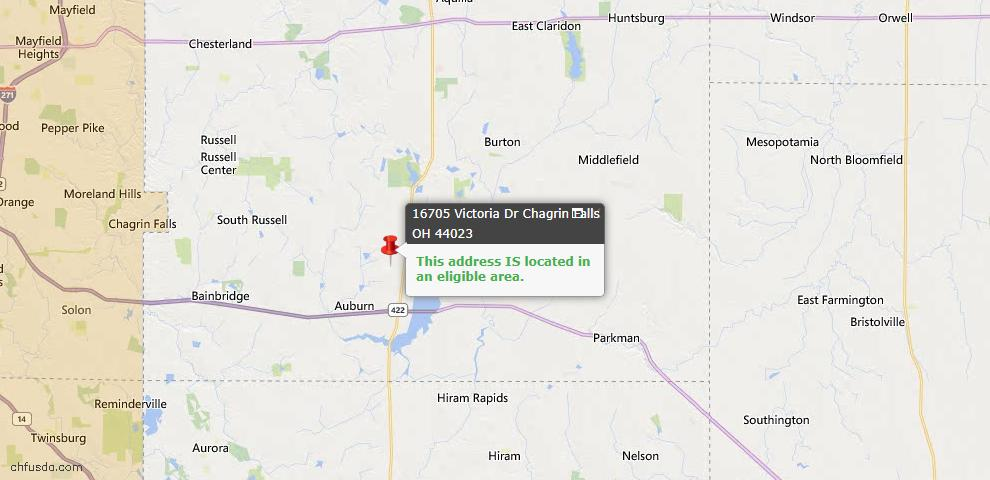 USDA Loan Eligiblity Map - 16705 Victoria Dr, Chagrin Falls, OH 44023