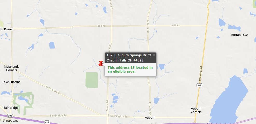 USDA Loan Eligiblity Map - 16750 Auburn Springs Dr, Chagrin Falls, OH 44023
