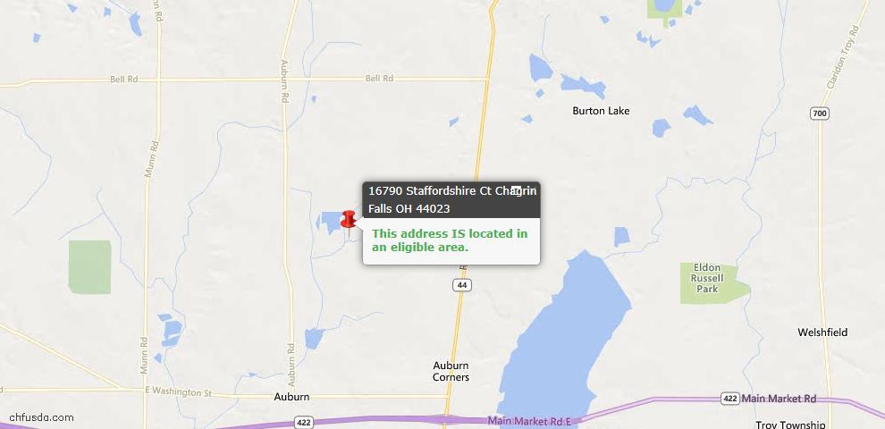 USDA Loan Eligiblity Map - 16790 Staffordshire Ct, Chagrin Falls, OH 44023