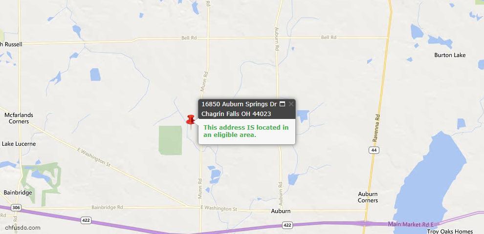 USDA Loan Eligiblity Map - 16850 Auburn Springs Dr, Chagrin Falls, OH 44023