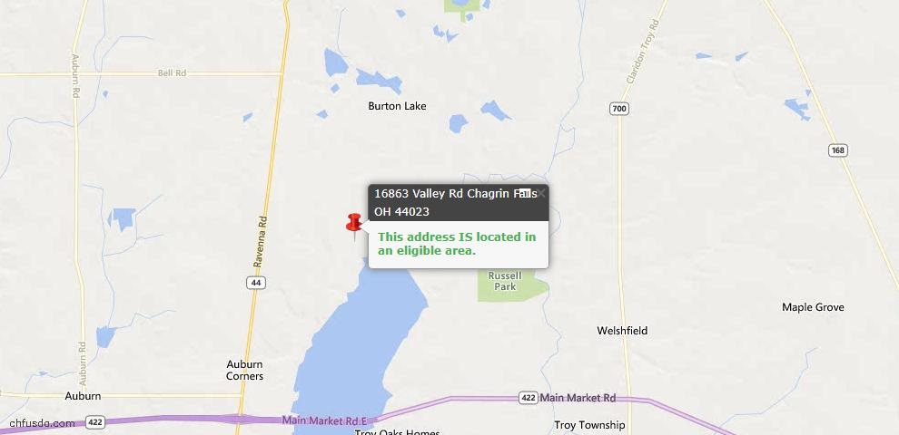 USDA Loan Eligiblity Map - 16863 Valley Rd, Chagrin Falls, OH 44023