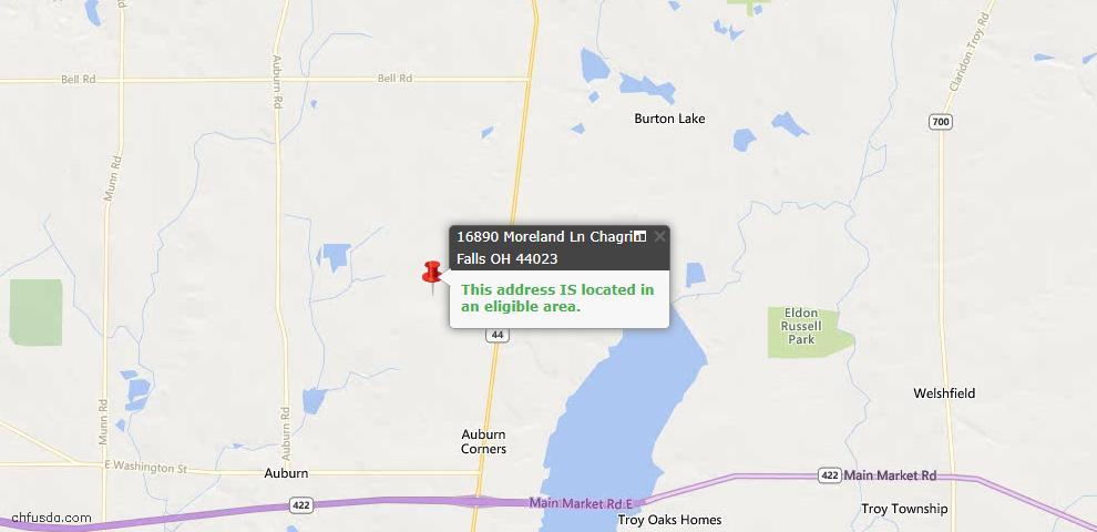 USDA Loan Eligiblity Map - 16890 Moreland Ln, Chagrin Falls, OH 44023