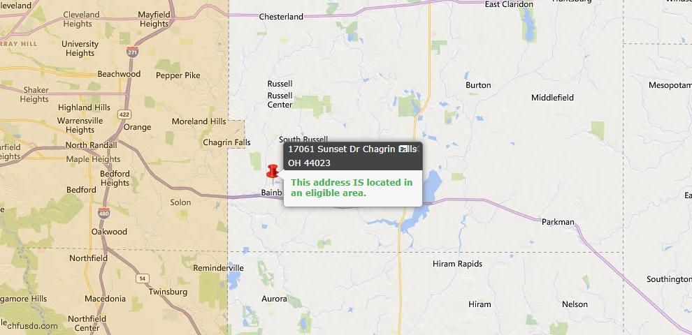 USDA Loan Eligiblity Map - 17061 Sunset Dr, Chagrin Falls, OH 44023