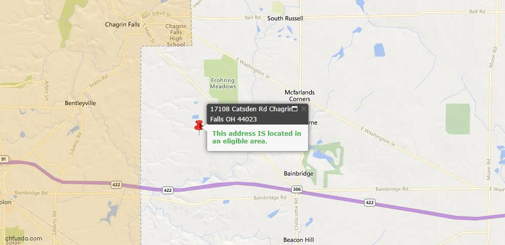 USDA Loan Eligiblity Map - 17108 Cats Den Rd, Chagrin Falls, OH 44023
