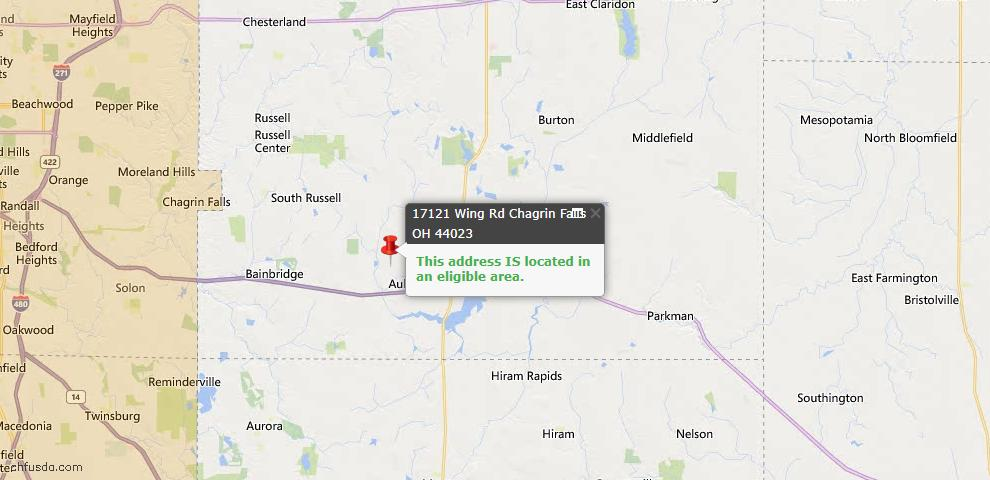 USDA Loan Eligiblity Map - 17121 Wing Rd, Chagrin Falls, OH 44023