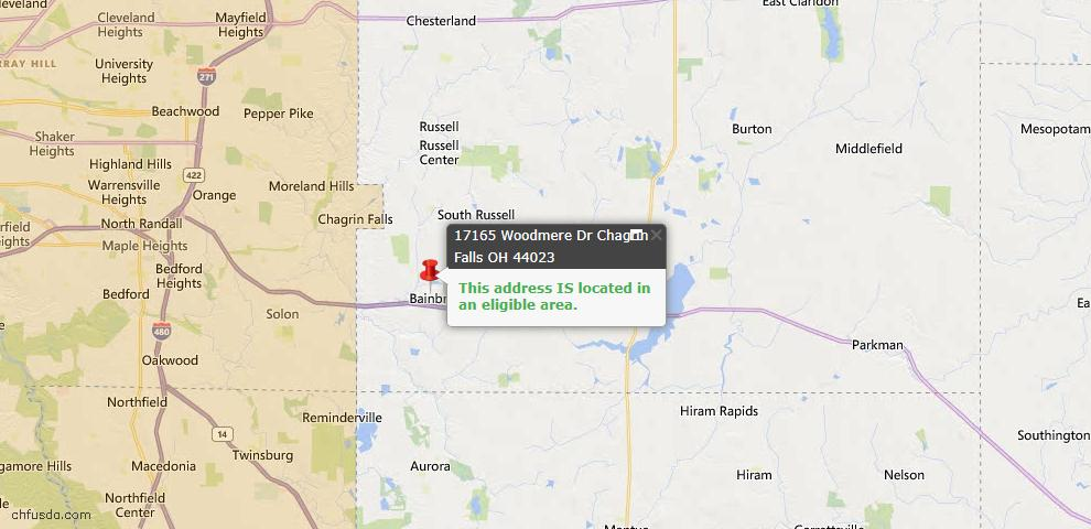 USDA Loan Eligiblity Map - 17165 Woodmere Dr, Chagrin Falls, OH 44023