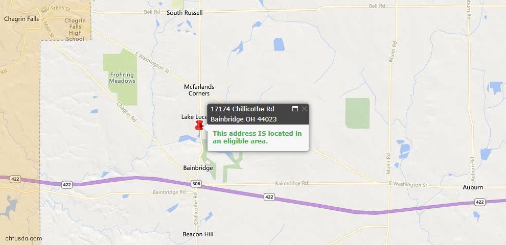 USDA Loan Eligiblity Maps From - Bainbridge, OH