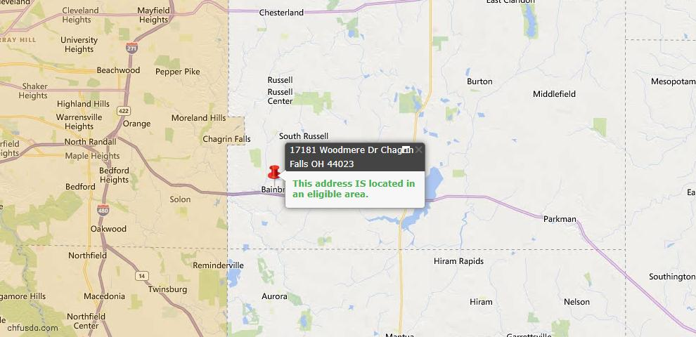 USDA Loan Eligiblity Map - 17181 Woodmere Dr, Chagrin Falls, OH 44023