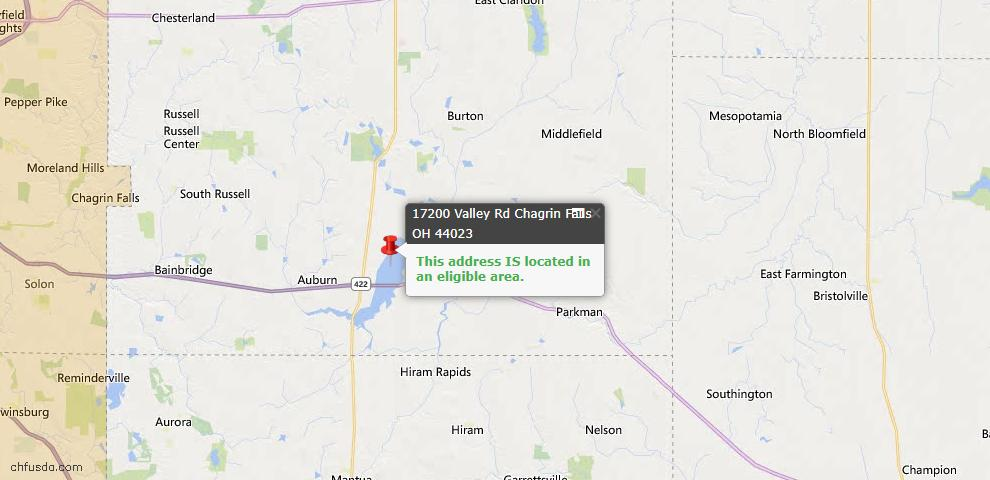 USDA Loan Eligiblity Map - 17200 Valley Rd, Chagrin Falls, OH 44023