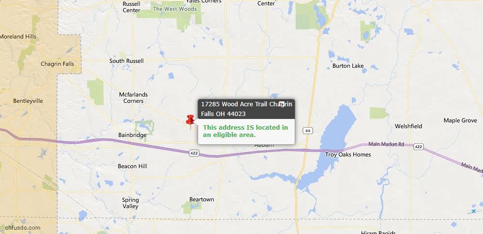 USDA Loan Eligiblity Map - 17285 Woodacre Trl, Chagrin Falls, OH 44023