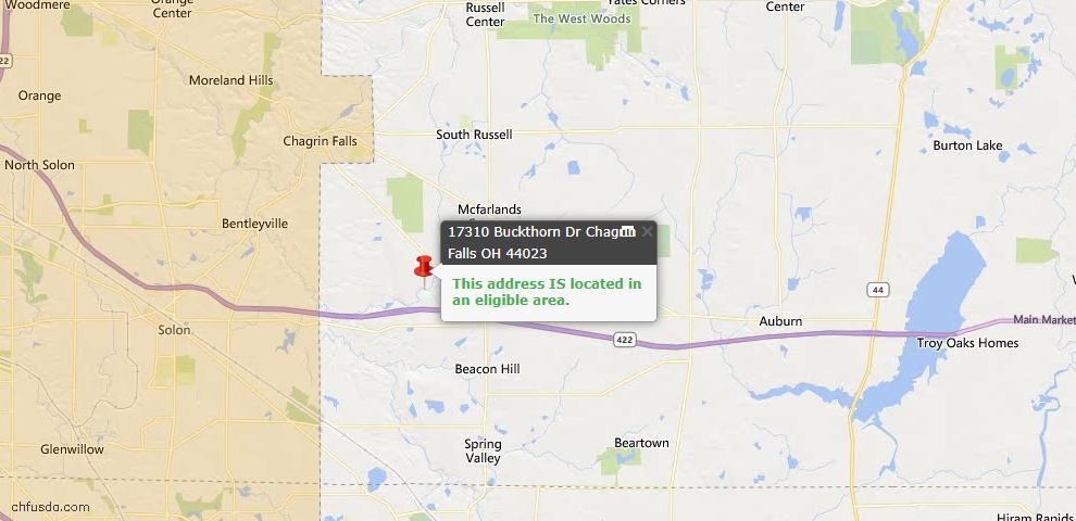 USDA Loan Eligiblity Map - 17310 Buckthorn Dr, Chagrin Falls, OH 44023