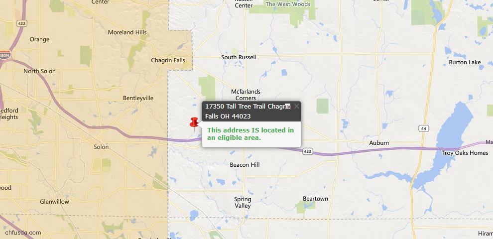 USDA Loan Eligiblity Map - 17350 Tall Tree Trl, Chagrin Falls, OH 44023
