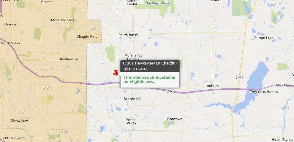 USDA Loan Eligiblity Map - 17361 Hawksview Ln, Chagrin Falls, OH 44023