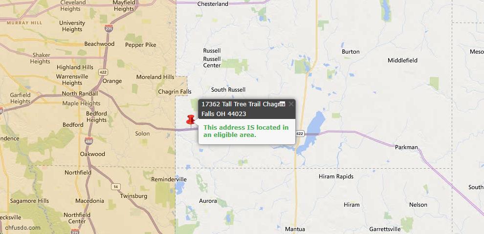 USDA Loan Eligiblity Map - 17362 Tall Tree Trl, Chagrin Falls, OH 44023