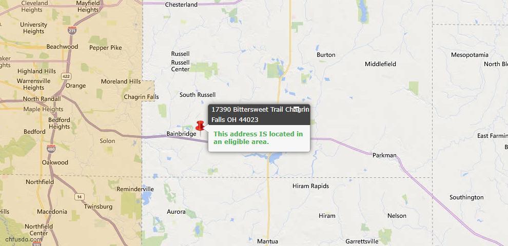 USDA Loan Eligiblity Map - 17390 Bittersweet Trl, Chagrin Falls, OH 44023