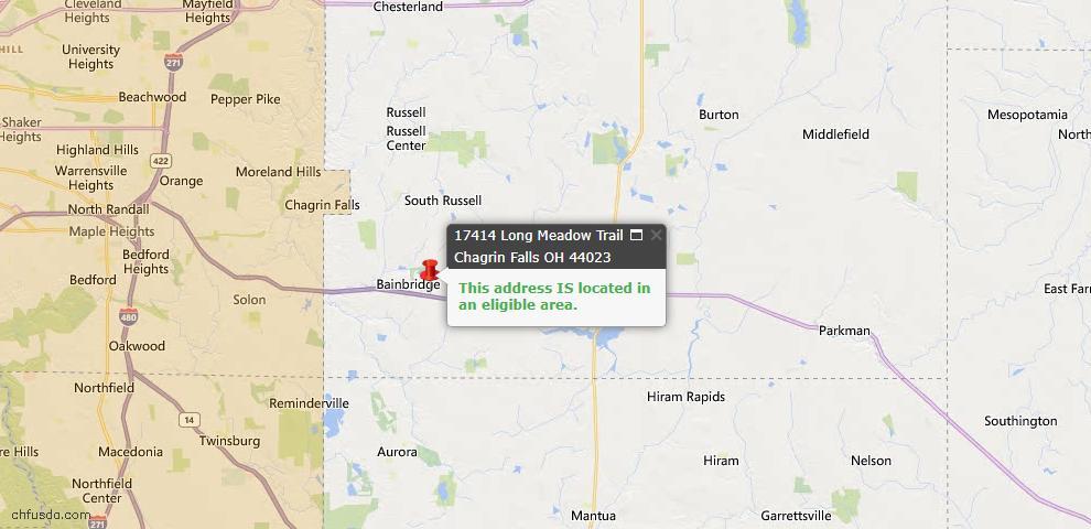USDA Loan Eligiblity Map - 17414 Long Meadow Trl, Chagrin Falls, OH 44023