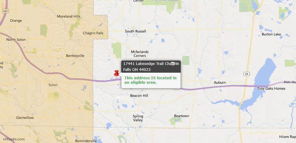 USDA Loan Eligiblity Map - 17441 Lakesedge Trl, Chagrin Falls, OH 44023
