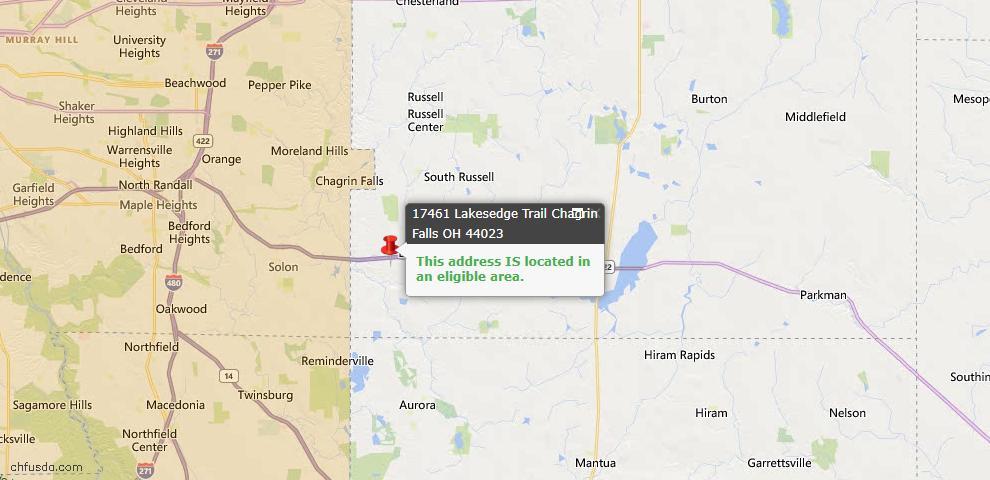 USDA Loan Eligiblity Map - 17461 Lakesedge Trl, Chagrin Falls, OH 44023
