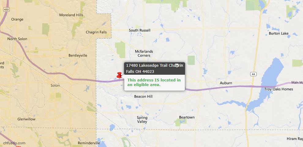 USDA Loan Eligiblity Map - 17480 Lakesedge Trl, Chagrin Falls, OH 44023