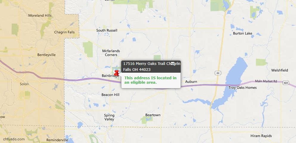 USDA Loan Eligiblity Map - 17516 Merry Oaks Trl, Chagrin Falls, OH 44023