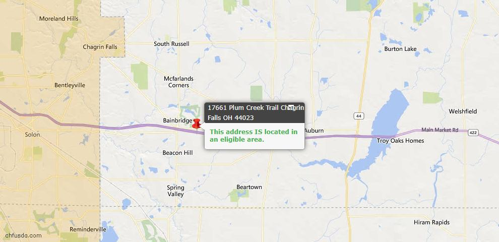 USDA Loan Eligiblity Map - 17661 Plum Creek Trl, Chagrin Falls, OH 44023