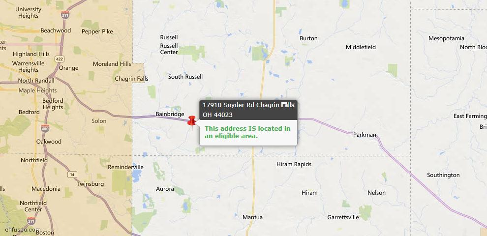 USDA Loan Eligiblity Map - 17910 Snyder Rd, Chagrin Falls, OH 44023