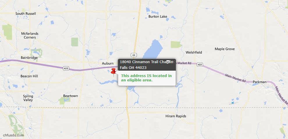 USDA Loan Eligiblity Map - 18040 Cinnamon Trl, Chagrin Falls, OH 44023