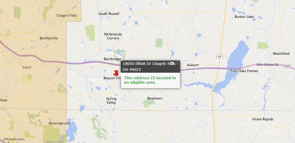 USDA Loan Eligiblity Map - 18050 Elliott Dr, Chagrin Falls, OH 44023