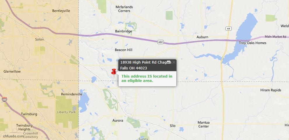 USDA Loan Eligiblity Map - 18938 Highpoint Rd, Chagrin Falls, OH 44023
