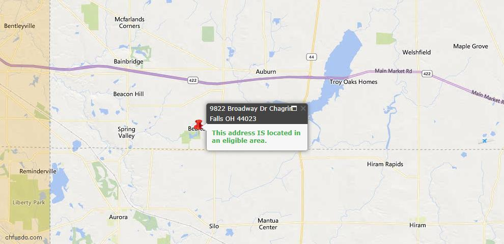 USDA Loan Eligiblity Map - 9822 Broadway Dr, Chagrin Falls, OH 44023