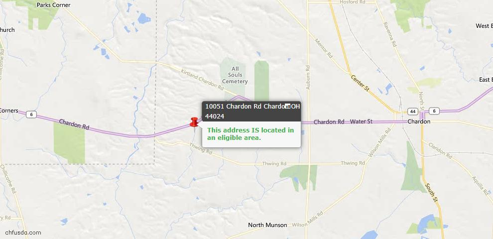 USDA Loan Eligiblity Map - 10051 Chardon Rd, Chardon, OH 44024