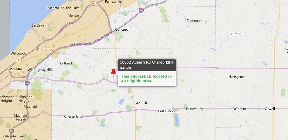 USDA Loan Eligiblity Map - 10052 Auburn Rd, Chardon, OH 44024