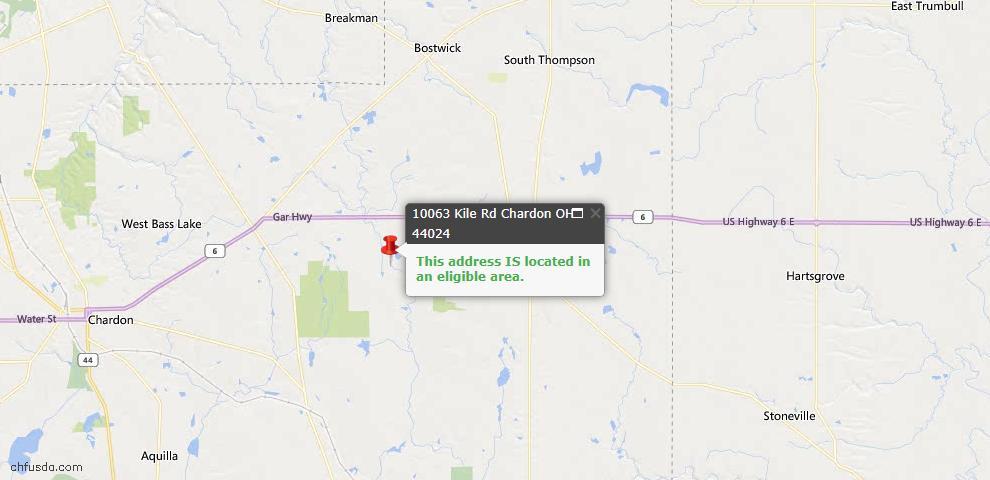 USDA Loan Eligiblity Map - 10063 Kile Rd, Chardon, OH 44024