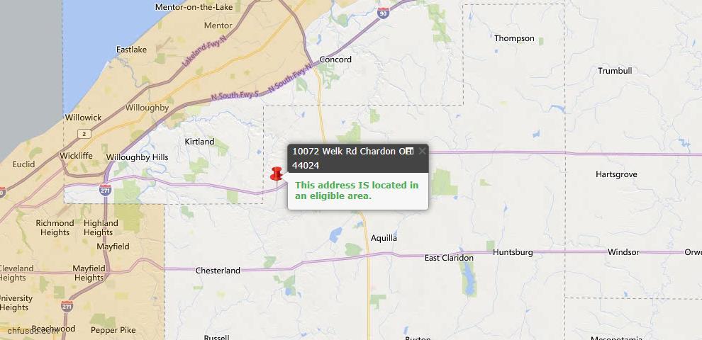 USDA Loan Eligiblity Map - 10072 Welk Rd, Chardon, OH 44024