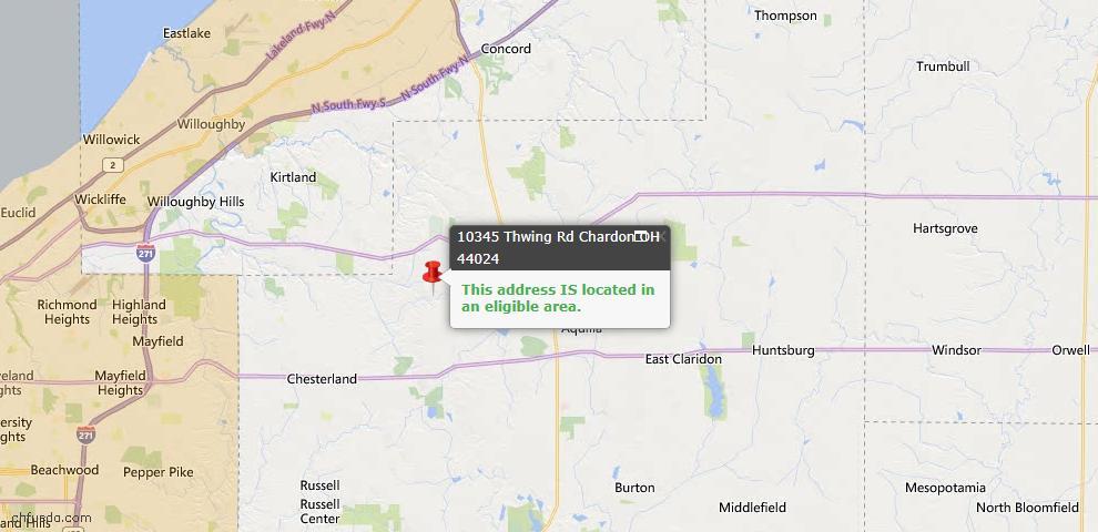 USDA Loan Eligiblity Map - 10345 Thwing Rd, Chardon, OH 44024