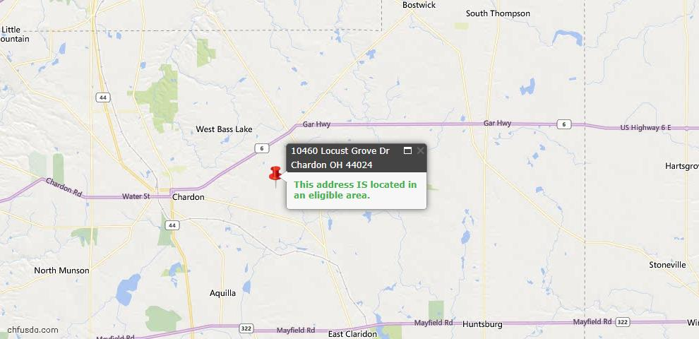 USDA Loan Eligiblity Map - 10460 Locust Grove Dr, Chardon, OH 44024