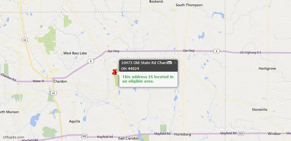 USDA Loan Eligiblity Map - 10473 Old State Rd, Chardon, OH 44024