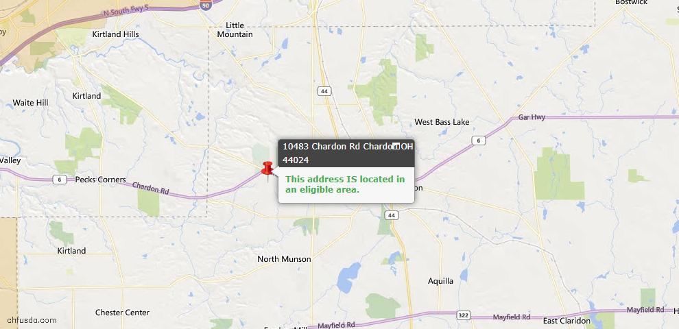 USDA Loan Eligiblity Map - 10483 Chardon Rd, Chardon, OH 44024