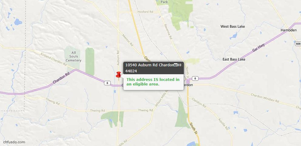 USDA Loan Eligiblity Map - 10540 Auburn Rd, Chardon, OH 44024