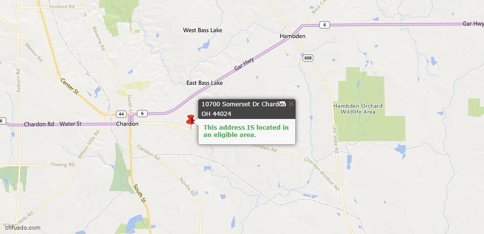 USDA Loan Eligiblity Map - 10700 Somerset Dr, Chardon, OH 44024