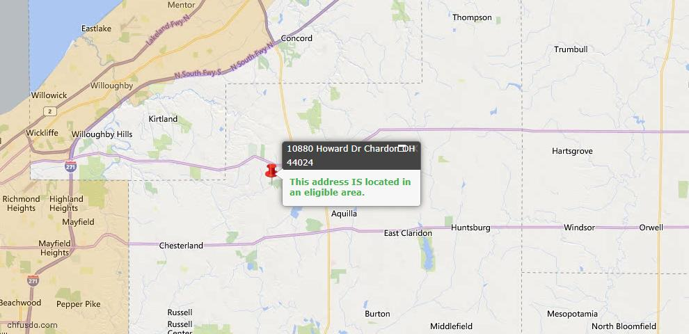 USDA Loan Eligiblity Map - 10880 Howard Dr, Chardon, OH 44024