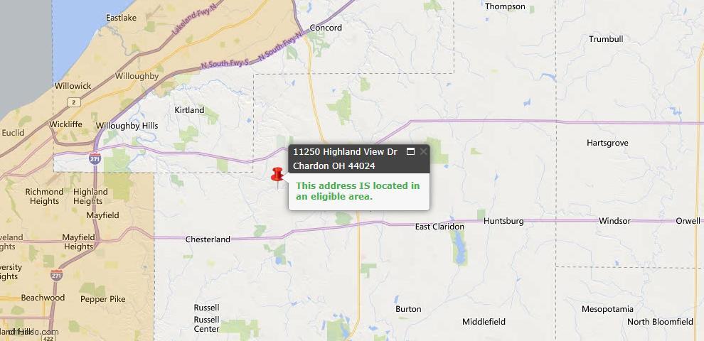USDA Loan Eligiblity Map - 11250 Highland View Dr, Chardon, OH 44024