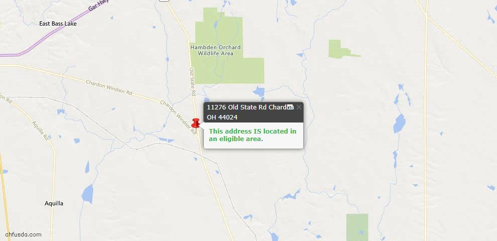 USDA Loan Eligiblity Map - 11276 Old State Rd, Chardon, OH 44024