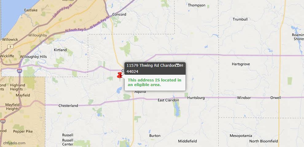 USDA Loan Eligiblity Map - 11579 Thwing Rd, Chardon, OH 44024