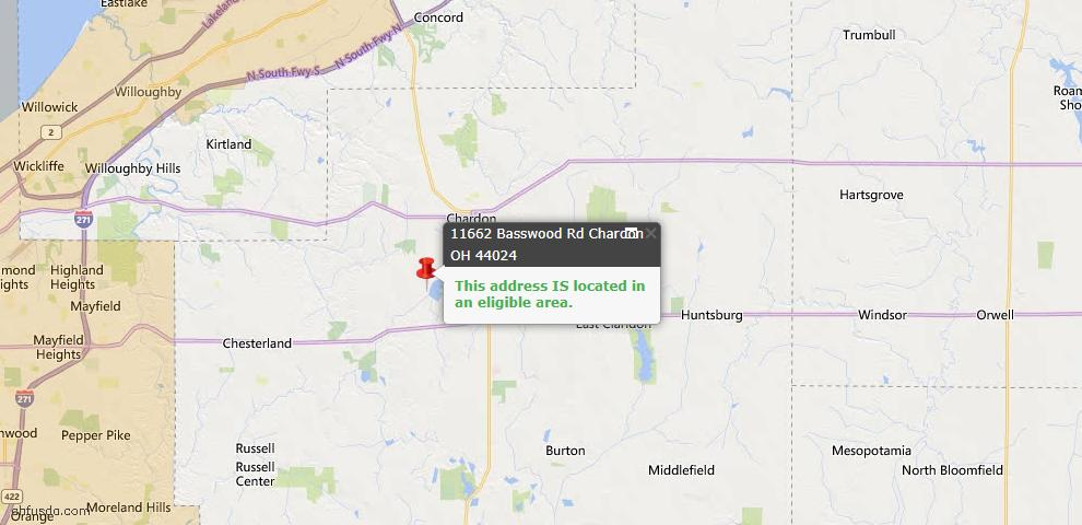 USDA Loan Eligiblity Map - 11662 Basswood Rd, Chardon, OH 44024