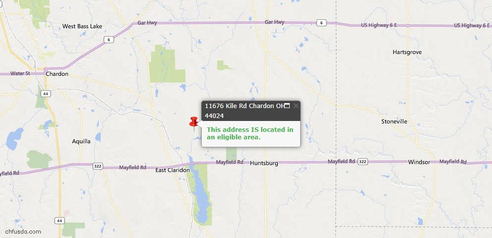 USDA Loan Eligiblity Map - 11676 Kile Rd, Chardon, OH 44024