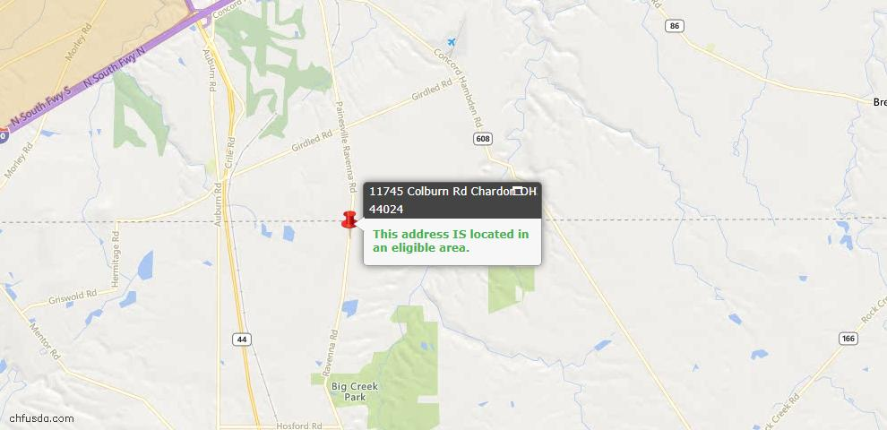 USDA Loan Eligiblity Map - 11745 Colburn Rd, Chardon, OH 44024