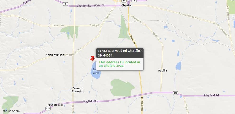 USDA Loan Eligiblity Map - 11753 Basswood, Chardon, OH 44024